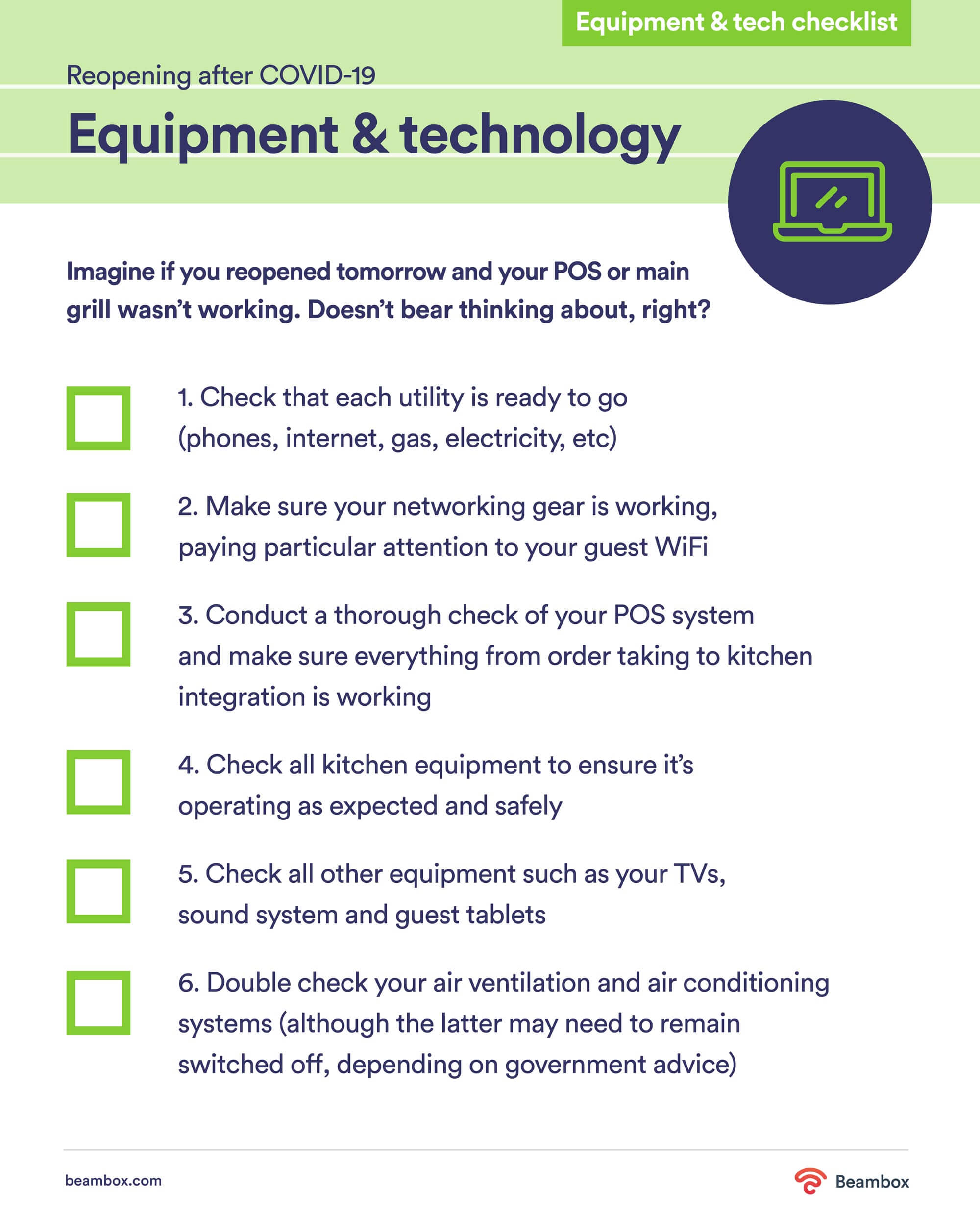 equipment and technology checklist